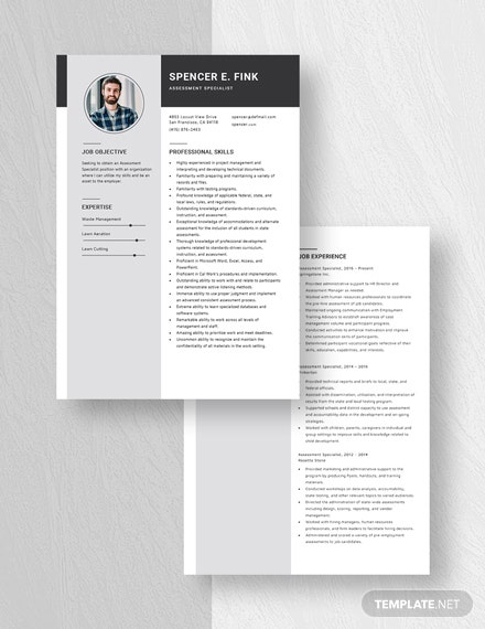 Assessment Specialist Resume Download