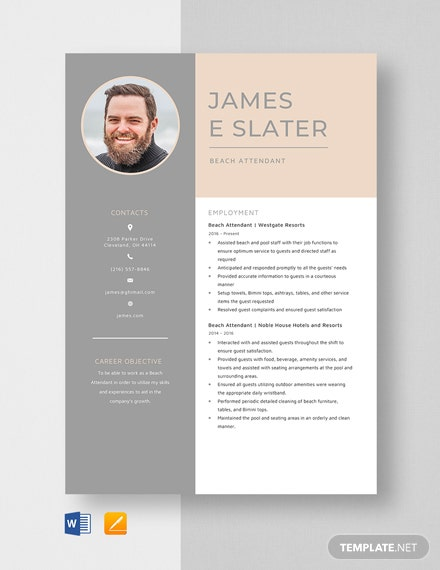 Beach Attendant Resume Template