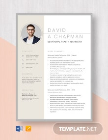 Behavioral Health Technician Resume Template