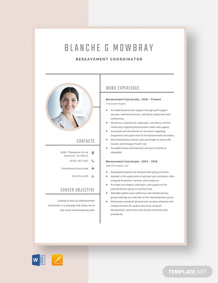 Bereavement Coordinator Resume Template