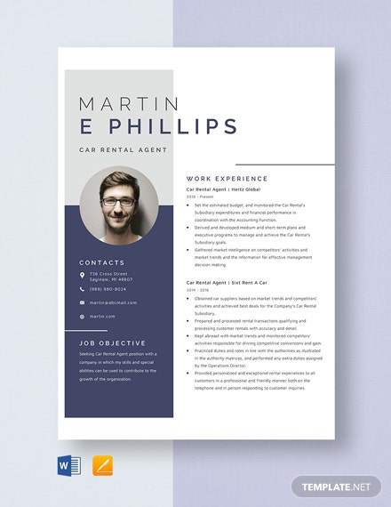 Car Rental Agent Resume Template