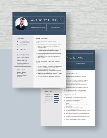 Car Sales Representative Resume Download