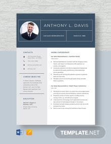 Car Sales Representative Resume Template