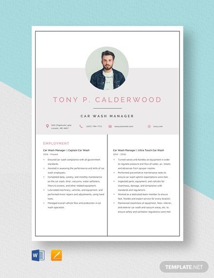 Car Wash Manager Resume Template