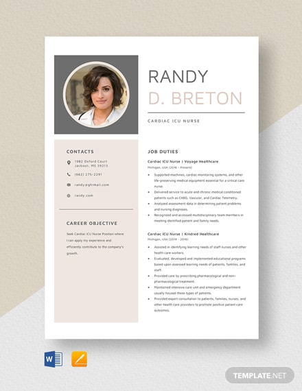Cardiac ICU Nurse Resume Template