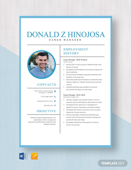 Cargo Manager Resume Template