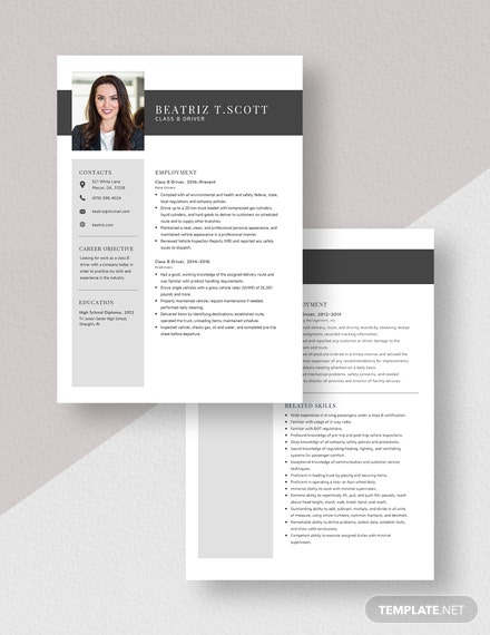 Class B Driver Resume Template [Free Pages] - Word, Apple Pages