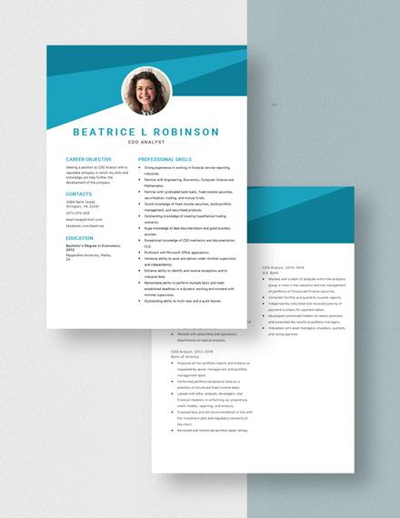 CDO Analyst Resume Download