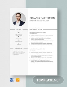 Certified Dietary Manager Resume Template