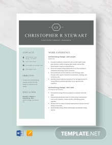 Certified Energy Manager Resume Template