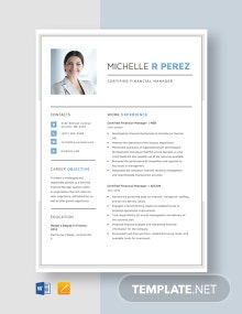 Certified Financial Manager Resume Template
