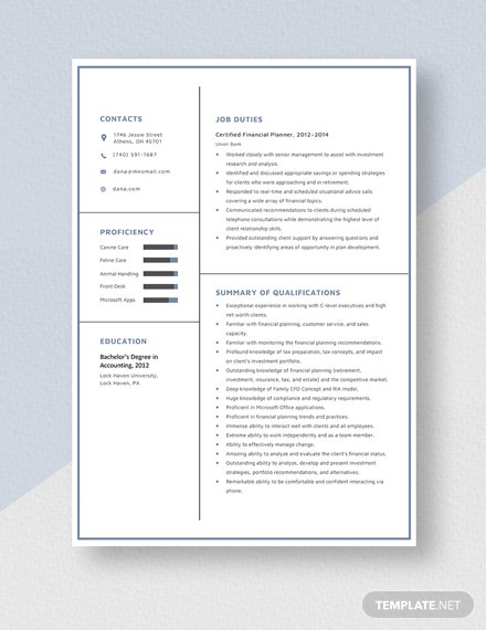 Certified Financial Planner Resume Template - Word | Apple ...