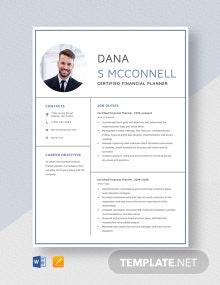 Certified Financial Planner Resume Template