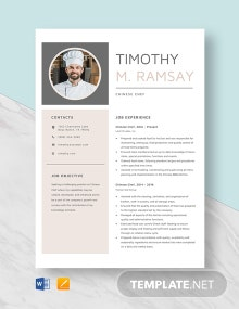 Chinese Chef Resume Template