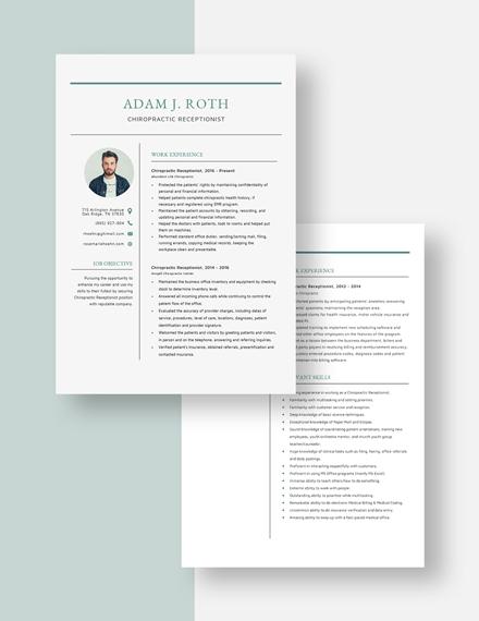 Chiropractic Receptionist Resume Download