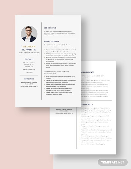 Church Administrative Assistant Resume Download