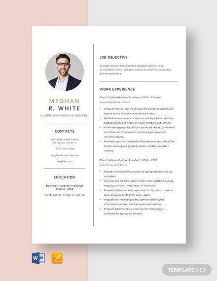 Church Administrative Assistant Resume Template