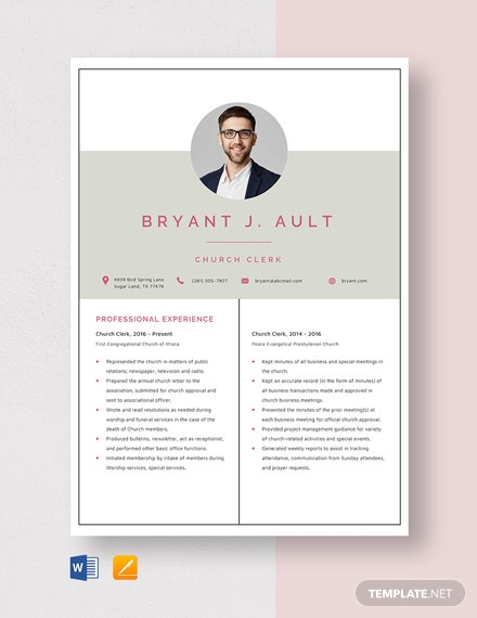 Church Clerk Resume Template