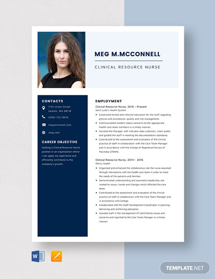 Clinical Resource Nurse Resume Template