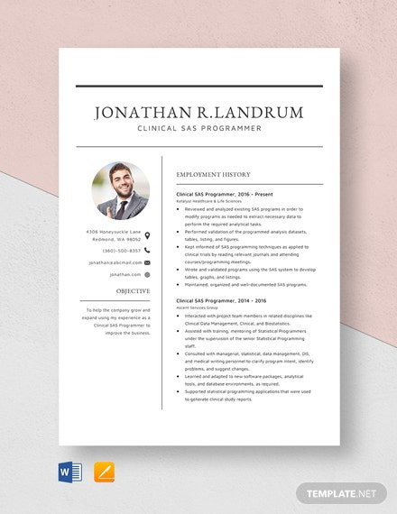Clinical SAS Programmer Resume Template
