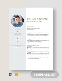 Clinical Secretary Resume Template