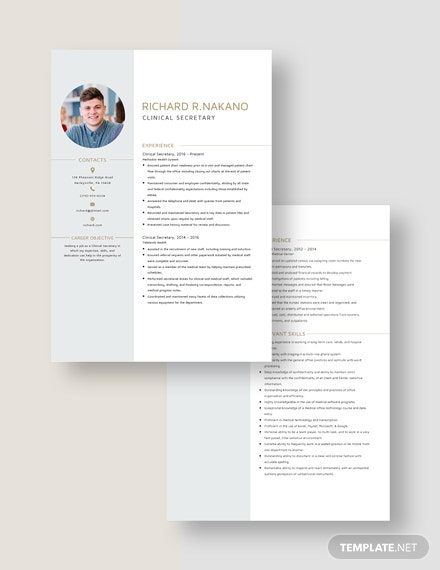 Clinical Secretary Resume Download