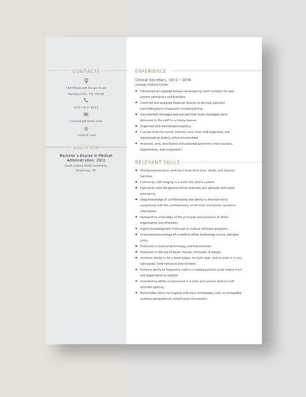 Clinical Secretary Resume Template