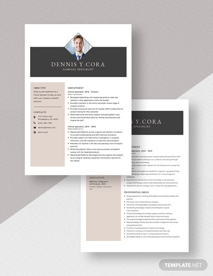 Clinical Specialist Resume Download
