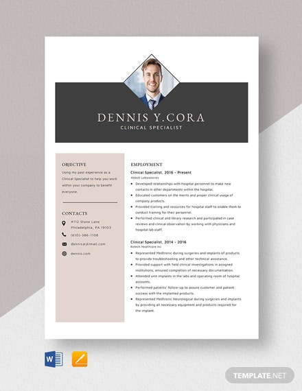 Clinical Specialist Resume Template