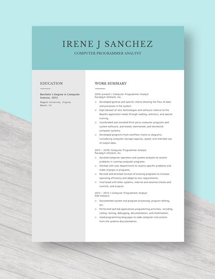 Computer Programmer Analyst Resume Template