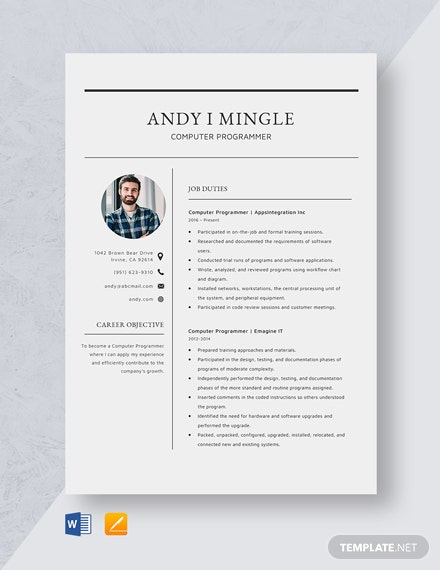 Computer Programmer Resume Template
