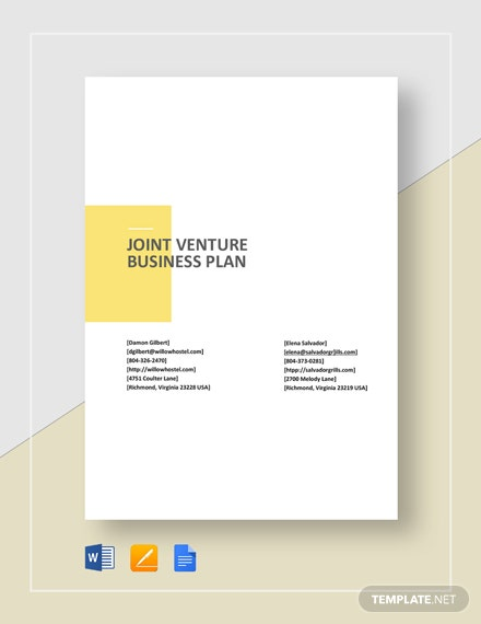 Joint Venture Business Plan