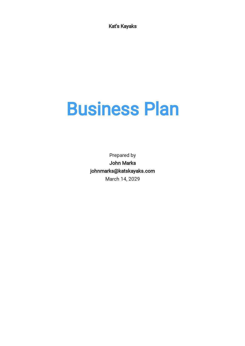 Kayak Business Plan Template