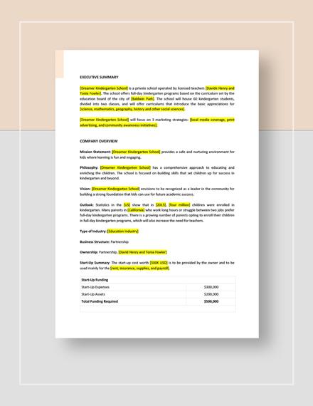 Kindergarten Business Plan Download