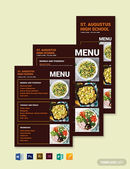 Downloadable School Menu Template