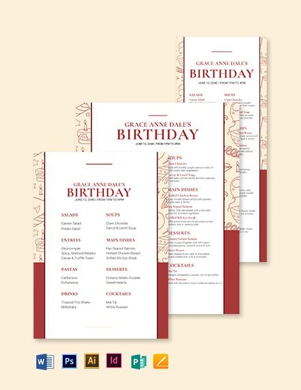Fancy Birthday Menu Template