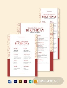 Fancy Birthday Menu Template