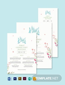 First Communion Baptism Menu Template