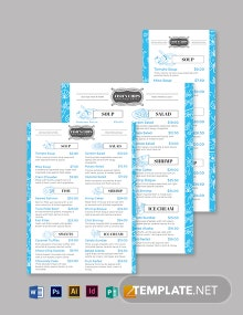 Fish & Chip Shop Seafood Menu Template