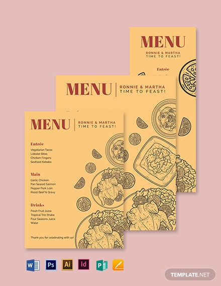 Food Wedding Menu Template