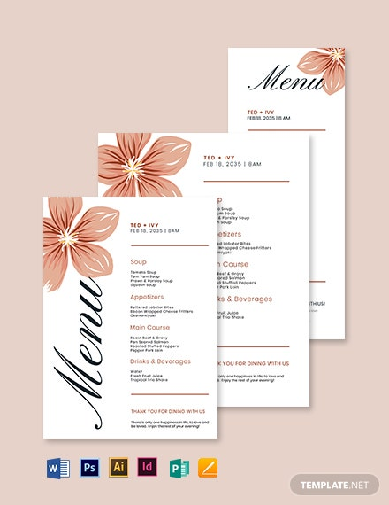 formal wedding menu