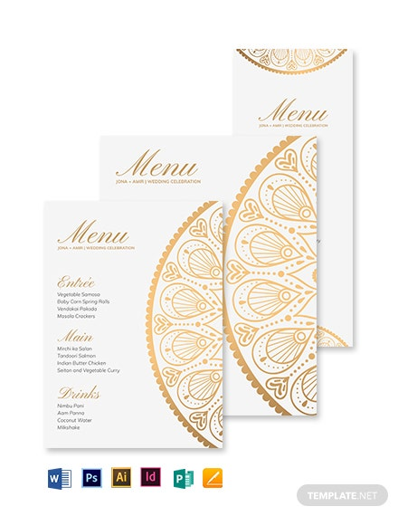 Indian Wedding Menu Template