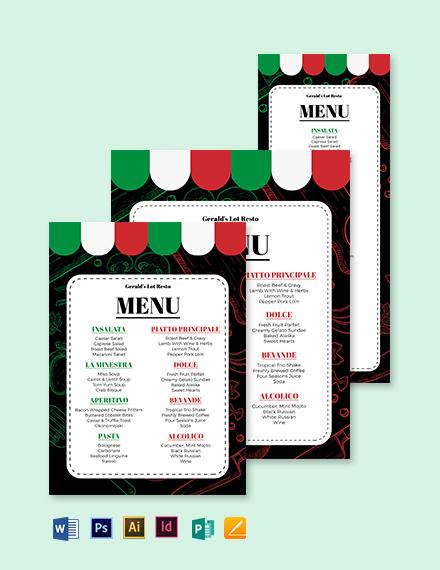 Italian Dinner Menu Template