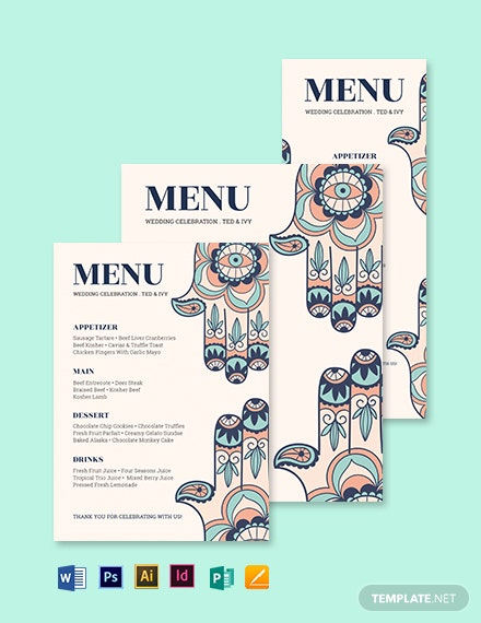 Jewish Wedding Menu Template