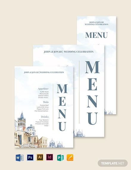 Mediterranean Wedding Menu Template