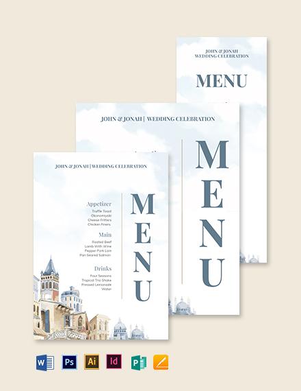 Mediterranean Wedding Menu Template