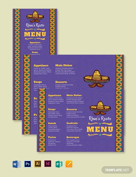 Mexican Dinner Menu Template