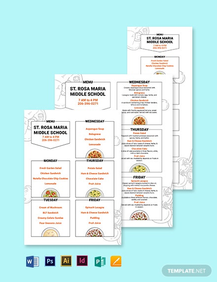 Middle School Menu Template