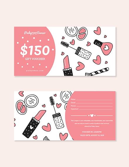 $150 Make Up Voucher Template