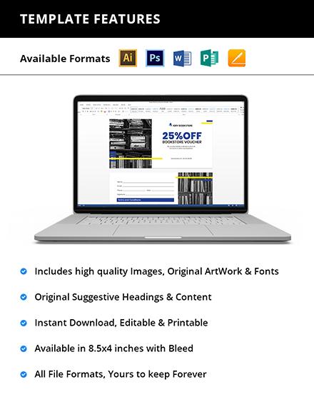 Editable Book Store Shopping Voucher